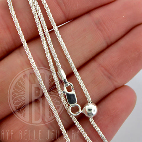 "Sterling Silver 22"" Adjustable ""Wheat"" Chain - Maya Belle Jewelry"