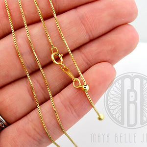 "14k GF 22"" Adjustable Box Chain - Maya Belle Jewelry"