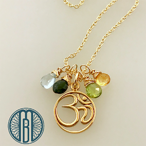 Golden Ohm Necklace Customized with Birthstones - Maya Belle Jewelry