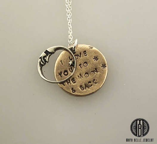 I Love You to the Moon and Back Necklace, sterling silver and solid bronze - Maya Belle Jewelry