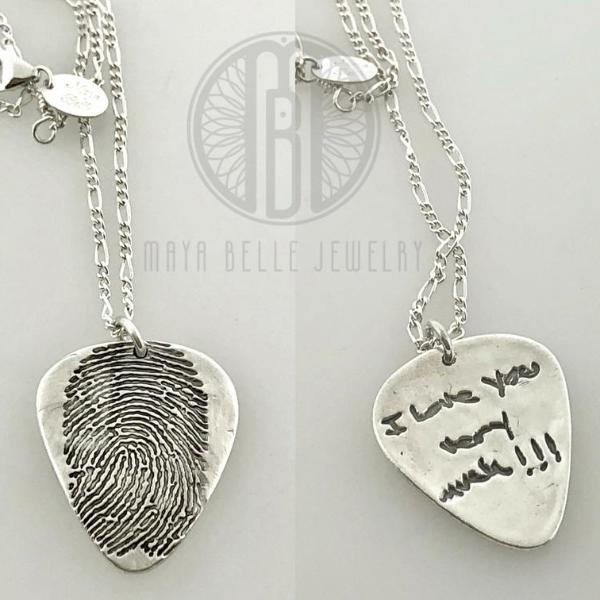 Guitar Pick Fingerprint Necklace with Custom Handwriting on the Reverse - Maya Belle Jewelry