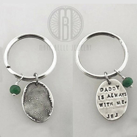 Fingerprint Keychain with Birthstone and Choice of Shape and Engraving