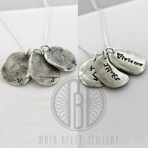Molded Fingerprint Pendant with actual Handwriting - Maya Belle Jewelry