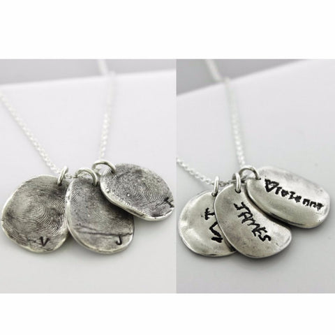Three Children's Fingerprints with Custom Handwriting Necklace in Pure Solid Silver