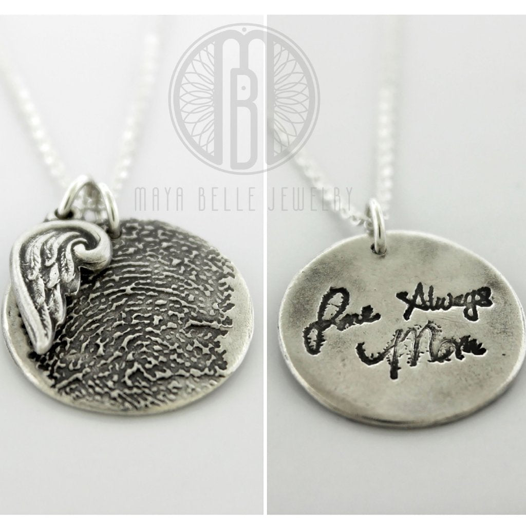 Fingerprint Angel Wing Necklace with Handwriting on the Back (Choice of Silver or Bronze) - Maya Belle Jewelry
