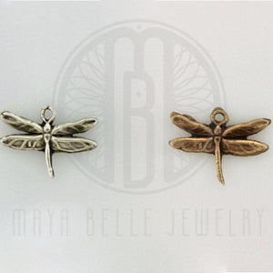 Add a Handmade, Dragonfly Charm in Bronze or Pure, Solid Silver (.999) - Maya Belle Jewelry