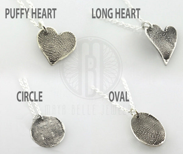Small Fingerprint Charm Necklace in Pure Silver - Maya Belle Jewelry