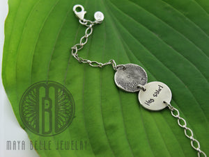 Actual fingerprint and handwriting bracelet - Maya Belle Jewelry