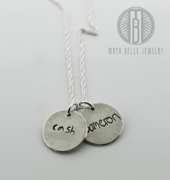 Actual Handwriting Necklace in silver or bronze - Maya Belle Jewelry