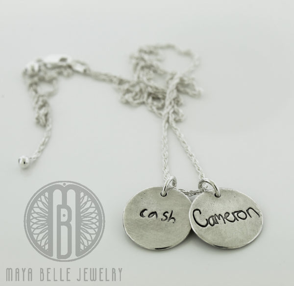Actual Handwriting Necklace in bronze or silver - Maya Belle Jewelry