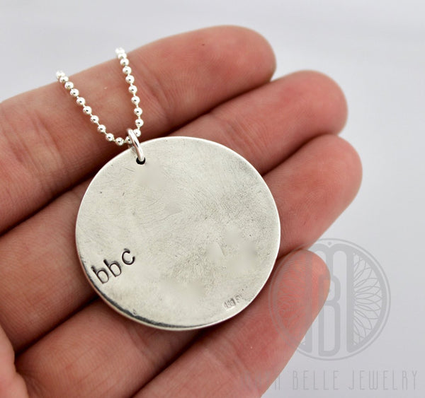 Fingerprint Good Luck Charm in Pure Silver with Ball Chain - Maya Belle Jewelry