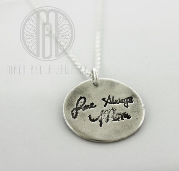Fingerprint Angel Wing Necklace with Handwriting on the Back (Choice of Silver or Bronze)