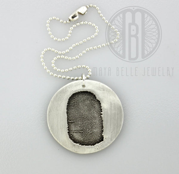 Fingerprint Good Luck Charm in Pure Silver with Ball Chain