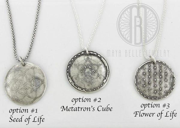 Sacred Geometry: Flower of Life Necklace in Silver or Bronze - Maya Belle Jewelry