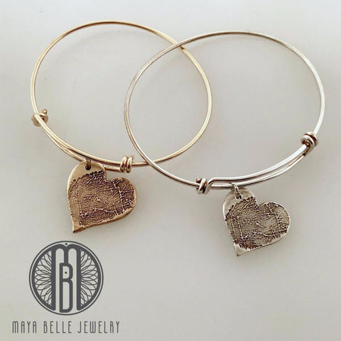 Thumbprint / Fingerprint Bangle bracelet from JPEG image in Fine Silver or Bronze and 14k gf