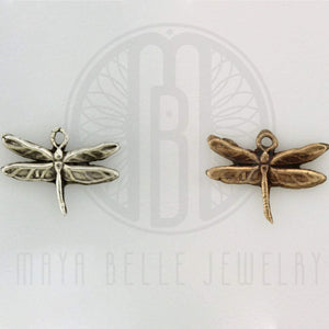 Add a Handmade Dragonfly Charm in Bronze or Fine, Pure Silver (.999) - Maya Belle Jewelry