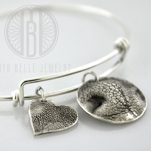 TWO Dog Nose Print Charms in Pure Silver, ONE sterling silver bangle bracelet