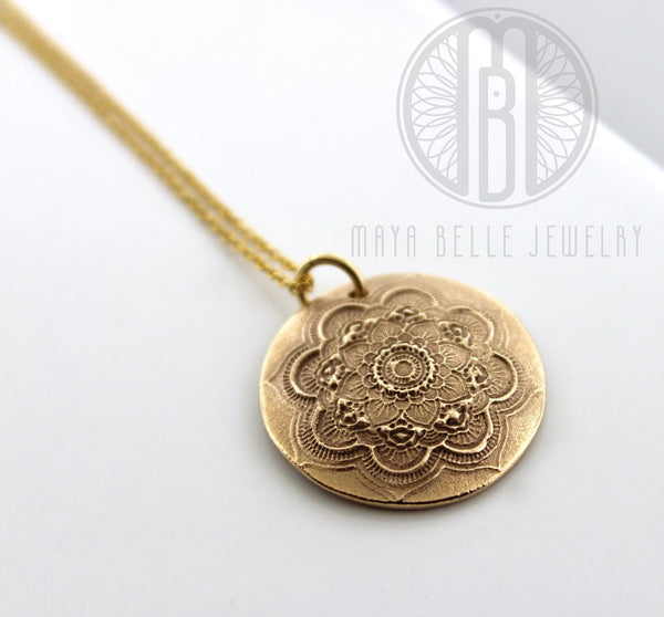 Large Mandala Fingerprint Pendant Necklace in Choice of Silver or Bronze - Maya Belle Jewelry