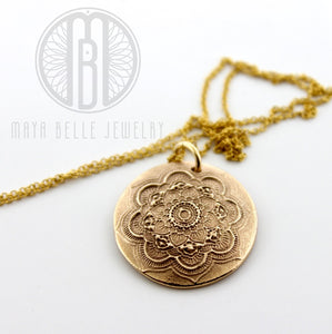 Handmade Mandala Pendant Necklace in solid Bronze