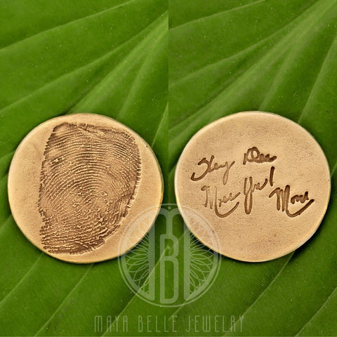 Fingerprint Good Luck Charm worry Coin WITH actual handwriting - Maya Belle Jewelry