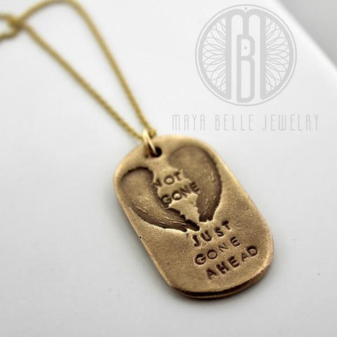 """Not Gone Just Gone Ahead"" memorial keepsake gift for him - Maya Belle Jewelry"