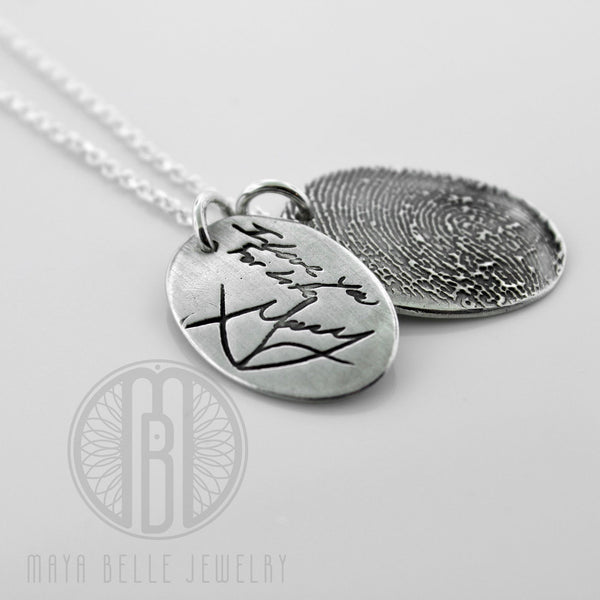 One Handwriting and One Fingerprint Charm Necklace In Choice of Silver or Bronze and Shape - Maya Belle Jewelry