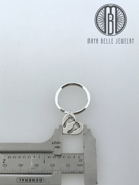 Baby Footprints keepsake Keychain - Maya Belle Jewelry