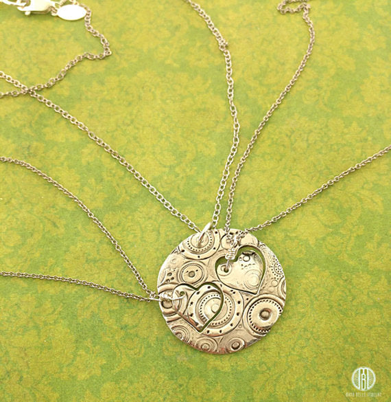 Mother/Daughter necklaces (One adult large circle with two child's heart cut out) - Maya Belle Jewelry