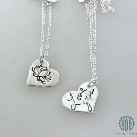 Puffy Heart Lotus in pure silver with or without a Fingerprint/Custom Handwriting - Maya Belle Jewelry