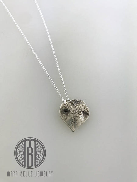 Large Doggie Nose Print with Small Doggie Paw Print Charm Necklace - Maya Belle Jewelry