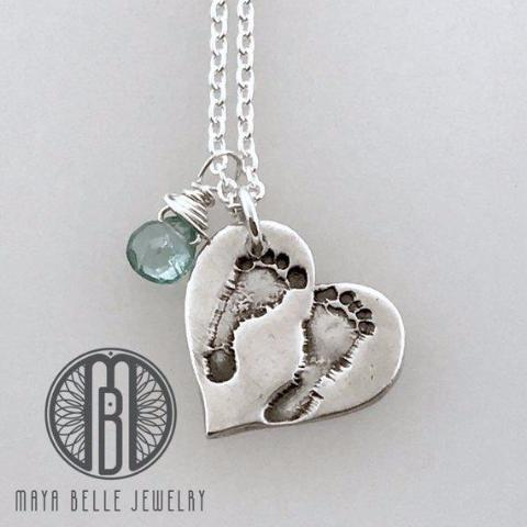 Baby's First Footprints Heart Pendant Necklace in Pure Silver