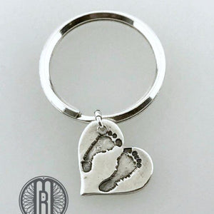 Baby's First Footprints Heart Pendant Keychain