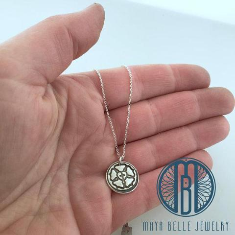 Luther Rose Necklace in Your Choice of Either Bronze or Silver - Maya Belle Jewelry