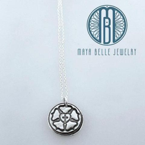 Luther Rose Necklace in Pure Fine Silver - Maya Belle Jewelry