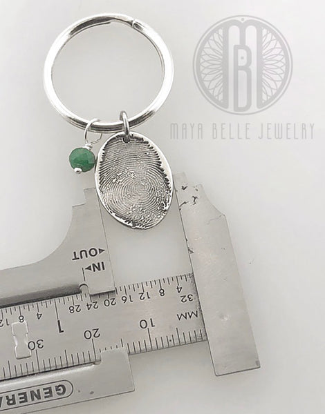 Fingerprint Keychain with Birthstone and Choice of Shape and Engraving - Maya Belle Jewelry