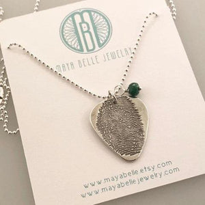 Guitar Pick Fingerprint Necklace - Maya Belle Jewelry