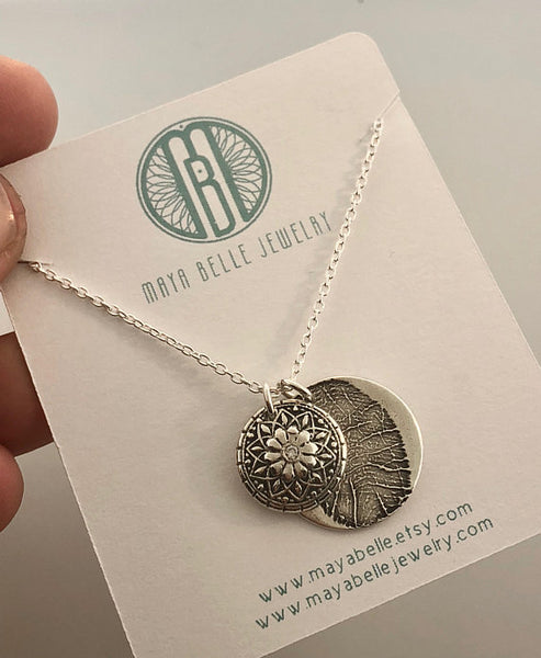 Mandala Fingerprint Charm and One Large Fingerprint Charm - Maya Belle Jewelry