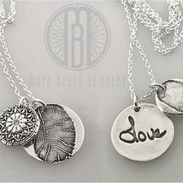 Two Fingerprints Necklace, One Large Charm, and One Mandala Charm - Maya Belle Jewelry