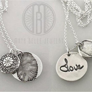 Mandala Fingerprint Charm and One Fingerprint Circle Charm with Handwriting on the back - Maya Belle Jewelry