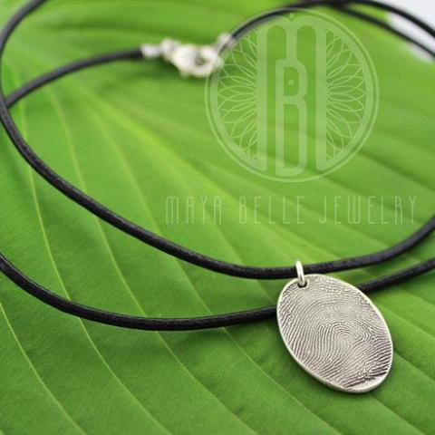 Leather Necklace with Large Fingerprint Charm in Pure Silver - Maya Belle Jewelry