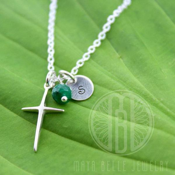 Cross Necklace with Initial and Birthstone - Maya Belle Jewelry