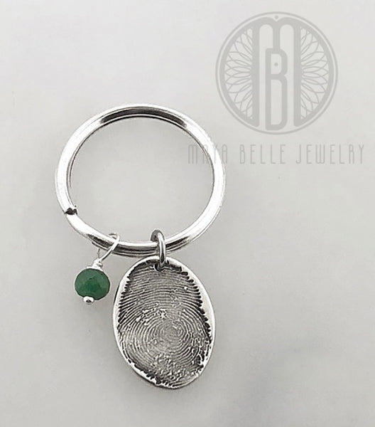 Small Fingerprint Charm Keychain with a Genuine Birthstone - Maya Belle Jewelry