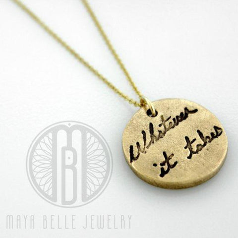 Large Charm with Actual Handwriting Necklace, 14k Gold and Pure Bronze