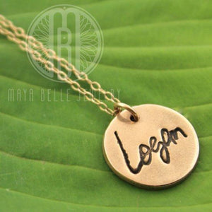 Custom Handwriting Bronze and 14k gold filled necklace made from a handwriting sample JPEG image