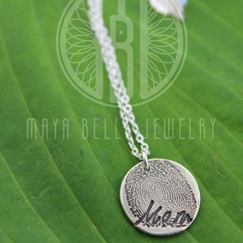 Small Fingerprint Necklace with Custom Handwriting in Pure Silver - Maya Belle Jewelry