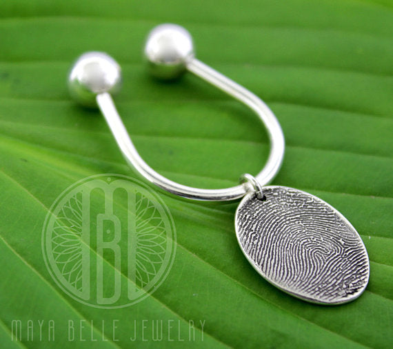 Large Fingerprint Charm on a Solid Sterling Silver Precision Threaded Keychain - Maya Belle Jewelry