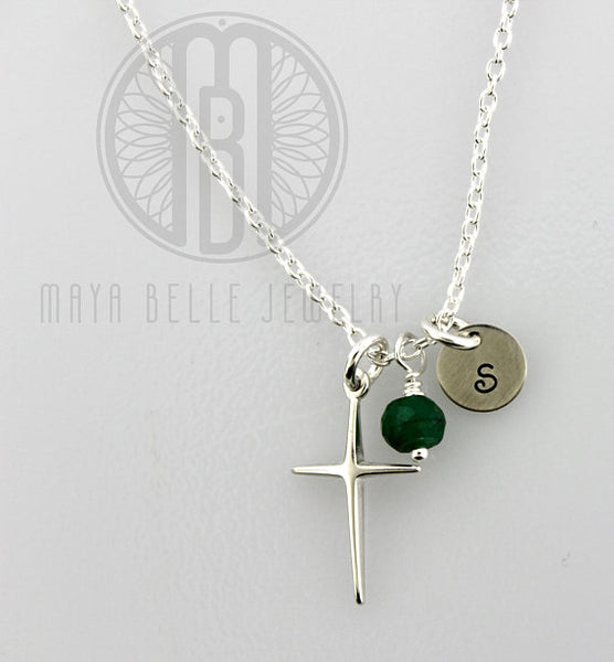Custom Sterling Silver Cross Necklace with a Genuine Birthstone and Engraved Initial/s - Maya Belle Jewelry