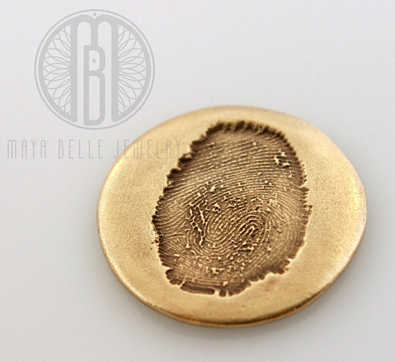 Fingerprint Good Luck Pocket Charm in Pure Bronze - Maya Belle Jewelry