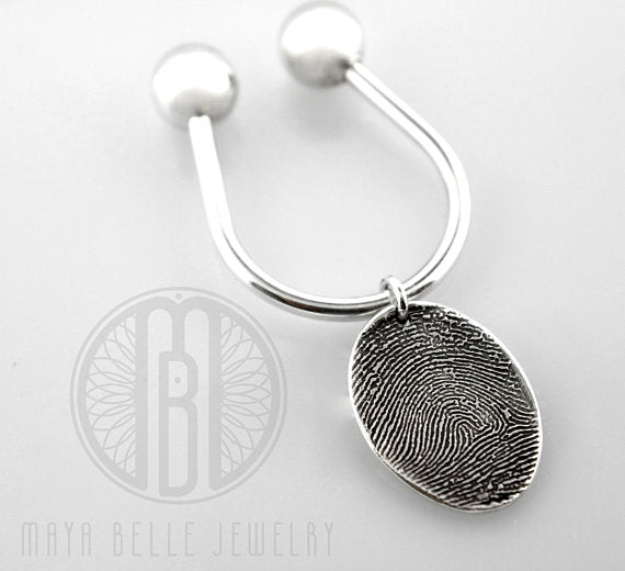 Large Fingerprint Charm on a Sterling Silver Threaded Keychain with Choice of Shape - Maya Belle Jewelry