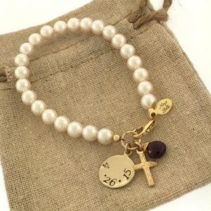 First Holy Communion Swarovski Pearl Bracelet with Custom Engraving and Birthstone - Maya Belle Jewelry